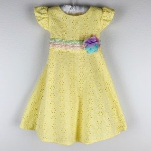 Good Lad yellow flower eyelet dress size 2T
